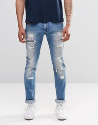Рваные джинсы слим Diesel Thavar 674Q - Светлый