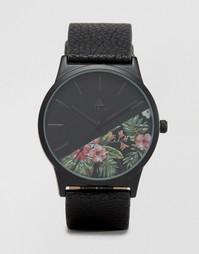 Часы с черным ремешком и цветочным принтом на циферблате ASOS - Черный
