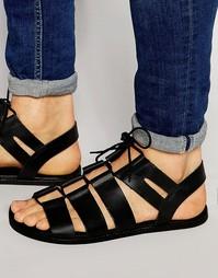 Черные кожаные сандалии-гладиаторы с шнуровкой ASOS - Черный
