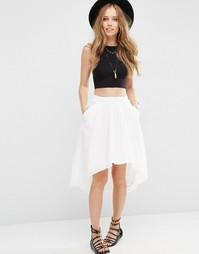 Хлопковая асимметричная юбка ASOS - Белый