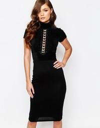 Платье миди с высоким воротом и короткими рукавами TFNC - Черный