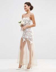Платье макси из кружева и нюдовой сеточки ASOS BRIDAL - Белый