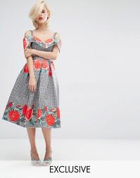 Платье миди с открытыми плечами и принтом Horrockses