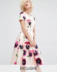 Атласное платье для выпускного с ярким цветочным принтом Horrockses Ir