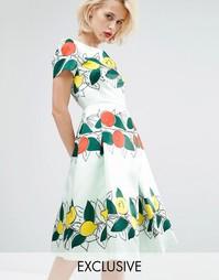 Платье миди Horrockses Lucille - Мятно-фруктовый принт