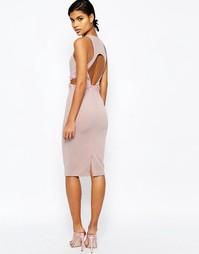 Облегающее платье с открытой спинкой и отделкой на талии ASOS - Mink