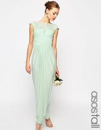 Платье макси с кружевным топом и плиссировкой ASOS TALL WEDDING