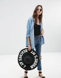 Соломенная широкополая шляпа с надписью Where My Beaches At ASOS