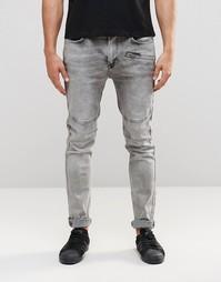 Байкерские джинсы с эффектом кислотной стирки Kubban - Черный