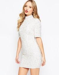 Облегающее платье мини с отделкой жемчугом ASOS Premium - Белый