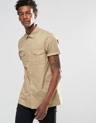 Рубашка в стиле милитари песочного цвета с короткими рукавами ASOS