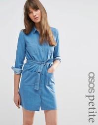 Синее выбеленное джинсовое платье‑рубашка с поясом ASOS PETITE - Синий