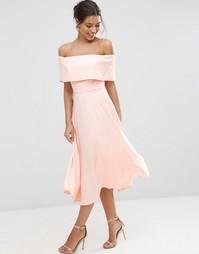 Платье миди для выпускного с открытыми плечами ASOS - Телесный