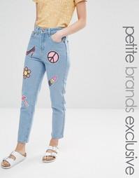 Джинсы в винтажном стиле с накладками из пайеток Liquor & Poker Petite
