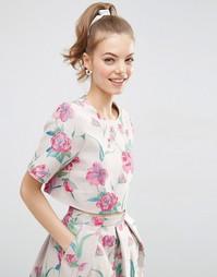 Комбинируемая жаккардовая футболка с цветочным принтом ASOS - Мульти
