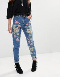 Джинсы в винтажном стиле с завышенной талией и цветочной вышивкой Glam Glamorous