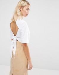 Рубашка с открытой спинкой и бантиком Fashion Union - Белый