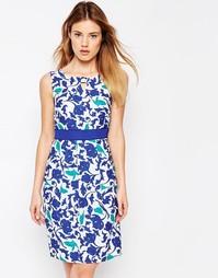 Платье-футляр с камуфляжным тропическим принтом Uttam Boutique - Синий