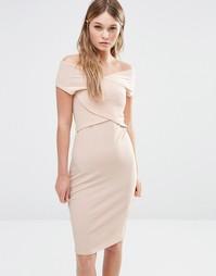 Облегающее платье с запахом спереди Fashion Union - Песок