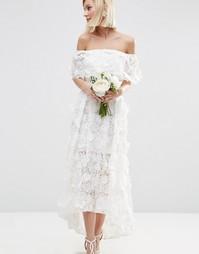 Платье миди для выпускного с удлиненной спинкой и 3D цветами ASOS BRID
