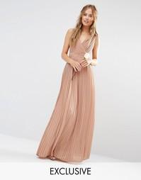 Платье макси с запахом и складками TFNC WEDDING - Серо-коричневый