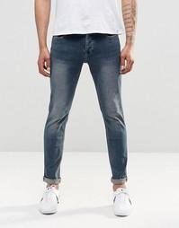 Узкие джинсы стретч с винтажной потертостью Only & Sons - Синий деним