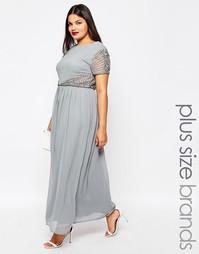 Платье макси с декоративной отделкой Lovedrobe Plus - Серый