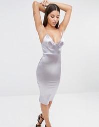 Атласное платье миди на бретельках Club L - Серебряный