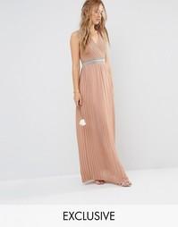 Декорированное платье макси со складками TFNC WEDDING