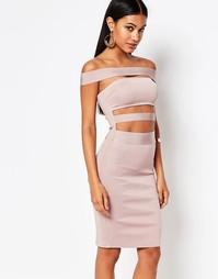 Бандажное платье с открытыми плечами Wow Couture - Dusky wineberry