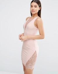 Платье мини с глубоким вырезом и кружевной вставкой NaaNaa - Телесный