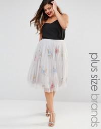 Пышная юбка для выпускного с розами Lovedrobe - Серый