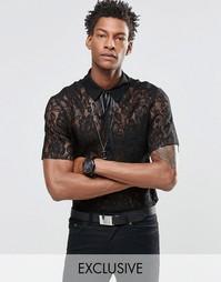 Кружевная рубашка с галстуком Reclaimed Vintage - Черный