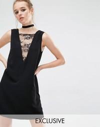 Платье-туника с кружевной вставкой спереди Reclaimed Vintage - Черный
