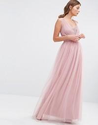 Шифоновое платье макси Little Mistress - Сумеречно-розовый