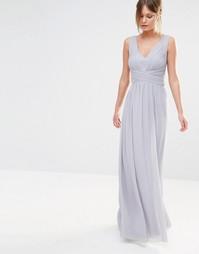 Шифоновое платье макси с глубоким декольте Little Mistress - Серый