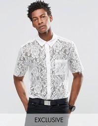 14ef6ddfe83 Кружевная рубашка с необработанными краями рукавов Reclaimed Vintage