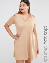 Свободное платье с открытыми плечами и решеткой из лямок Pink Clove