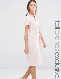 Платье с запахом спереди и поясом Alter Tall - Blush