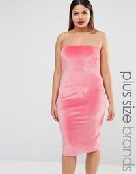 Бархатное платье‑бандо миди Club L Plus - Розовый