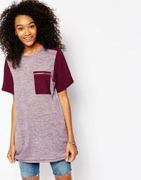 Туника-футболка с маслянистым принтом и карманом ASOS - Фиолетовый