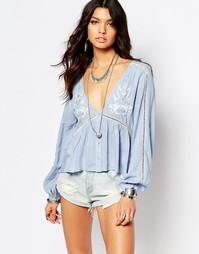 Фестивальная блузка с вышивкой Somedays Lovin - Синий