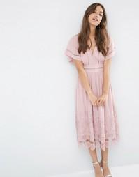 Платье миди с кружевной отделкой лесенкой и гипюровой кромкой ASOS Pre
