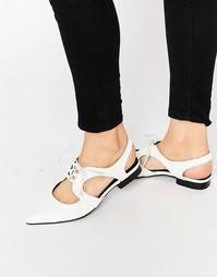 Туфли на плоской подошве и на шнуровке ASOS MINNESOTA - Белый