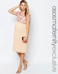 Платье миди для беременных с пайетками ASOS Maternity - Телесный