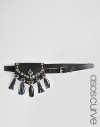Ремень и кошелек в стиле вестерн с пластинками и кисточками ASOS CURVE