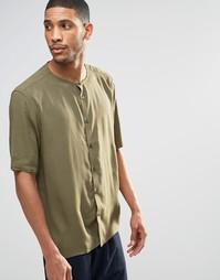 Классическая рубашка хаки без воротника с рукавами до локтя ASOS