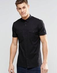 Черная рубашка в стиле милитари с короткими рукавами ASOS - Черный