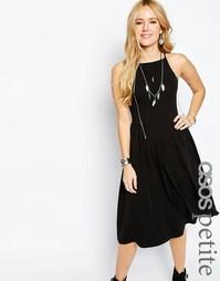Платье миди с высокой горловиной в стиле 90‑х ASOS PETITE - Белый