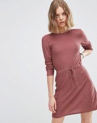 Вязаное платье с завязкой на талии ASOS - Blush